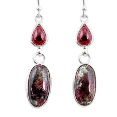 10.89cts natural pink eudialyte red garnet 925 silver dangle earrings r68273