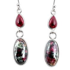 10.84cts natural pink eudialyte red garnet 925 silver dangle earrings r68275