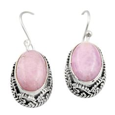 8.98cts natural pink kunzite 925 sterling silver dangle earrings jewelry r21905