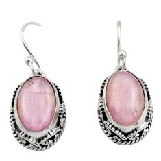 8.71cts natural pink kunzite 925 sterling silver dangle earrings jewelry r21913