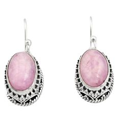 8.39cts natural pink kunzite 925 sterling silver dangle earrings jewelry r21916