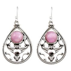 5.92cts natural pink kunzite 925 sterling silver owl earrings jewelry d47595
