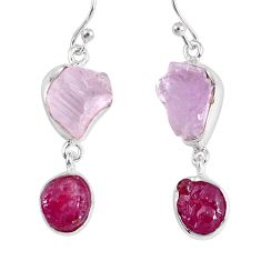 18.47cts natural pink kunzite rough ruby rough 925 silver dangle earrings r55449