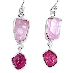 17.69cts natural pink kunzite rough ruby rough 925 silver dangle earrings r55450