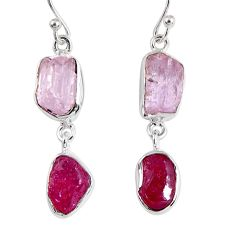 15.39cts natural pink kunzite rough ruby rough 925 silver dangle earrings r55452