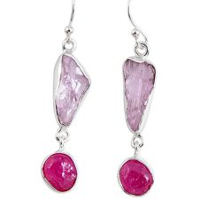16.17cts natural pink kunzite rough ruby rough 925 silver dangle earrings r55453