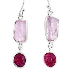 17.20cts natural pink kunzite rough ruby rough 925 silver dangle earrings r55454