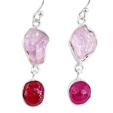 17.64cts natural pink kunzite rough ruby rough 925 silver dangle earrings r55457