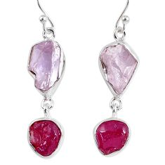 16.17cts natural pink kunzite rough ruby rough 925 silver dangle earrings r55458