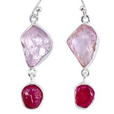 19.48cts natural pink kunzite rough ruby rough 925 silver dangle earrings r55460