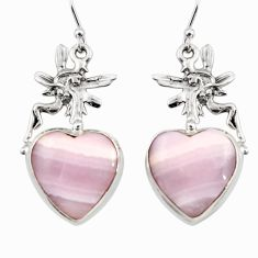 19.32cts natural pink lace agate 925 silver angel wings fairy earrings r45224