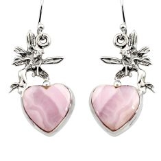 15.82cts natural pink lace agate 925 silver angel wings fairy earrings r45230