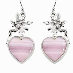 18.19cts natural pink lace agate 925 silver angel wings fairy earrings r45233