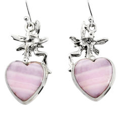 16.63cts natural pink lace agate 925 silver angel wings fairy earrings r46076