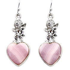 22.22cts natural pink lace agate 925 silver cupid angel wings earrings r45221