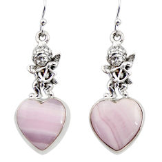 20.71cts natural pink lace agate 925 silver cupid angel wings earrings r45236