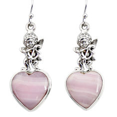 17.21cts natural pink lace agate 925 silver cupid angel wings earrings r46065