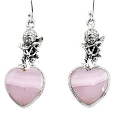 17.21cts natural pink lace agate 925 silver cupid angel wings earrings r46071