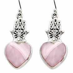 19.73cts natural pink lace agate 925 silver hand of god hamsa earrings r45225