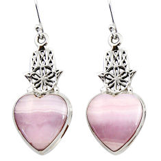 19.42cts natural pink lace agate 925 silver hand of god hamsa earrings r45228