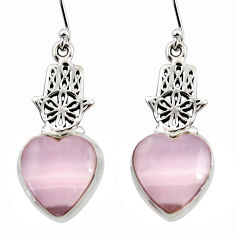 17.50cts natural pink lace agate 925 silver hand of god hamsa earrings r45232