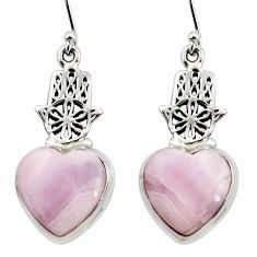 19.30cts natural pink lace agate 925 silver hand of god hamsa earrings r45240