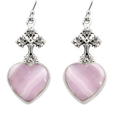 22.66cts natural pink lace agate 925 silver tree of life earrings r45227