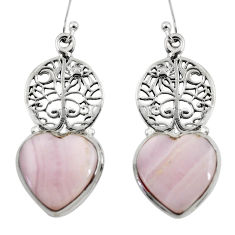 17.71cts natural pink lace agate 925 silver tree of life earrings r46066