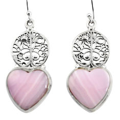 17.69cts natural pink lace agate 925 silver tree of life earrings r46067