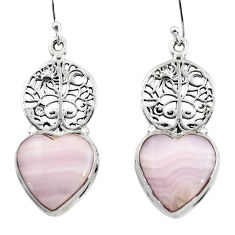 16.64cts natural pink lace agate 925 silver tree of life earrings r46079