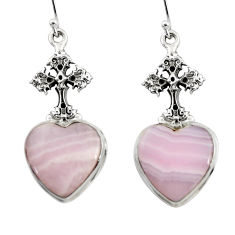 17.59cts natural pink lace agate 925 silver tree of life earrings r46080