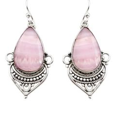 18.10cts natural pink lace agate 925 sterling silver dangle earrings r30325