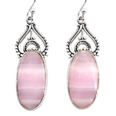 16.73cts natural pink lace agate 925 sterling silver dangle earrings r30326
