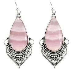 18.70cts natural pink lace agate 925 sterling silver dangle earrings r30329