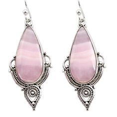 17.57cts natural pink lace agate 925 sterling silver dangle earrings r30330