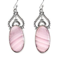 14.72cts natural pink lace agate 925 sterling silver dangle earrings r30331
