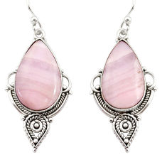 16.73cts natural pink lace agate 925 sterling silver dangle earrings r30334