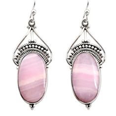 16.73cts natural pink lace agate 925 sterling silver dangle earrings r30335
