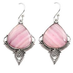18.10cts natural pink lace agate 925 sterling silver dangle earrings r30340