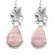 20.78cts natural pink lace agate 925 sterling silver dangle earrings r45226