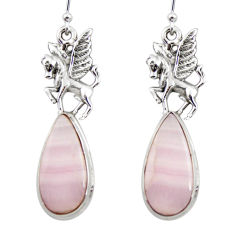 20.06cts natural pink lace agate 925 sterling silver dangle earrings r45231