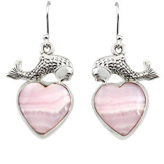 20.47cts natural pink lace agate 925 sterling silver fish earrings r45239