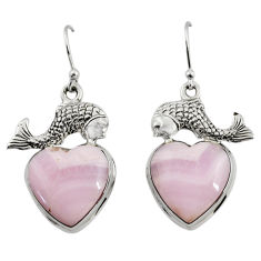 17.75cts natural pink lace agate 925 sterling silver fish earrings r46069