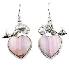 17.59cts natural pink lace agate 925 sterling silver fish earrings r46073