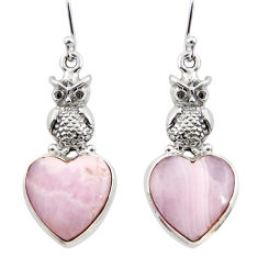 19.90cts natural pink lace agate 925 sterling silver owl earrings jewelry r45222
