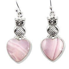 21.65cts natural pink lace agate 925 sterling silver owl earrings jewelry r45237