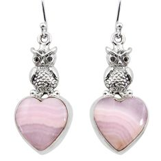 19.61cts natural pink lace agate 925 sterling silver owl earrings jewelry r45238