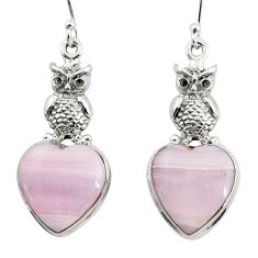 17.81cts natural pink lace agate 925 sterling silver owl earrings jewelry r46070