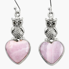 17.30cts natural pink lace agate 925 sterling silver owl earrings jewelry r46074