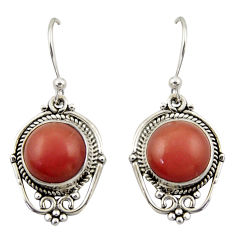 8.49cts natural pink moonstone 925 sterling silver dangle earrings r42331